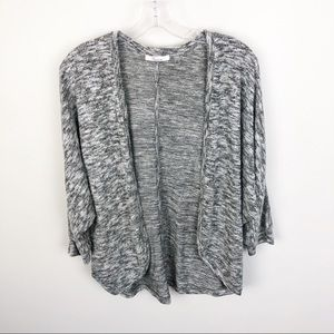 89th + Madison Marled Gray Sweater Open Front S